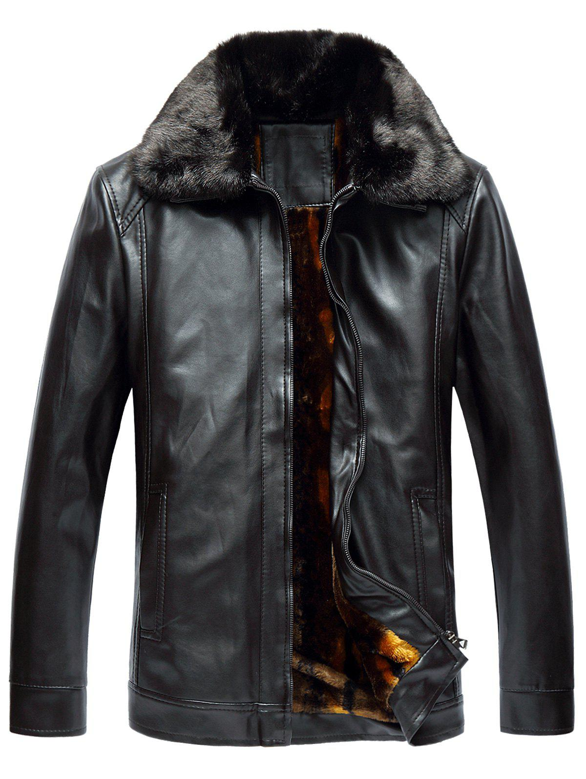 Affordable Faux Fur Collar Fleece Zip Up PU Leather Jacket