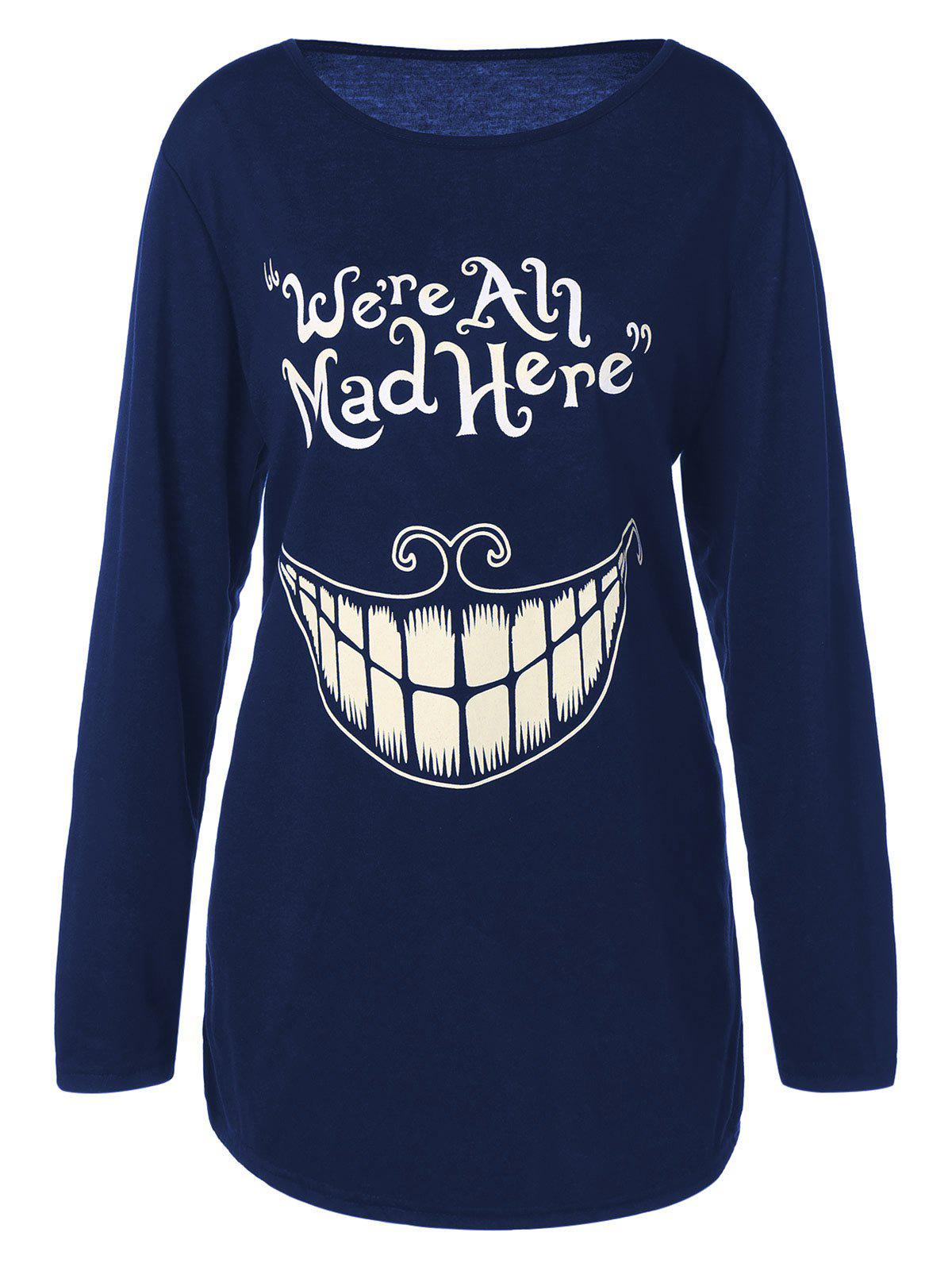 Plus Size Teeth and Letter Print T-shirtWOMEN<br><br>Size: 4XL; Color: DEEP BLUE; Material: Polyester,Spandex; Shirt Length: Long; Sleeve Length: Full; Collar: Jewel Neck; Style: Casual; Season: Fall,Spring; Pattern Type: Letter; Weight: 0.2510kg; Package Contents: 1 x T-Shirt;