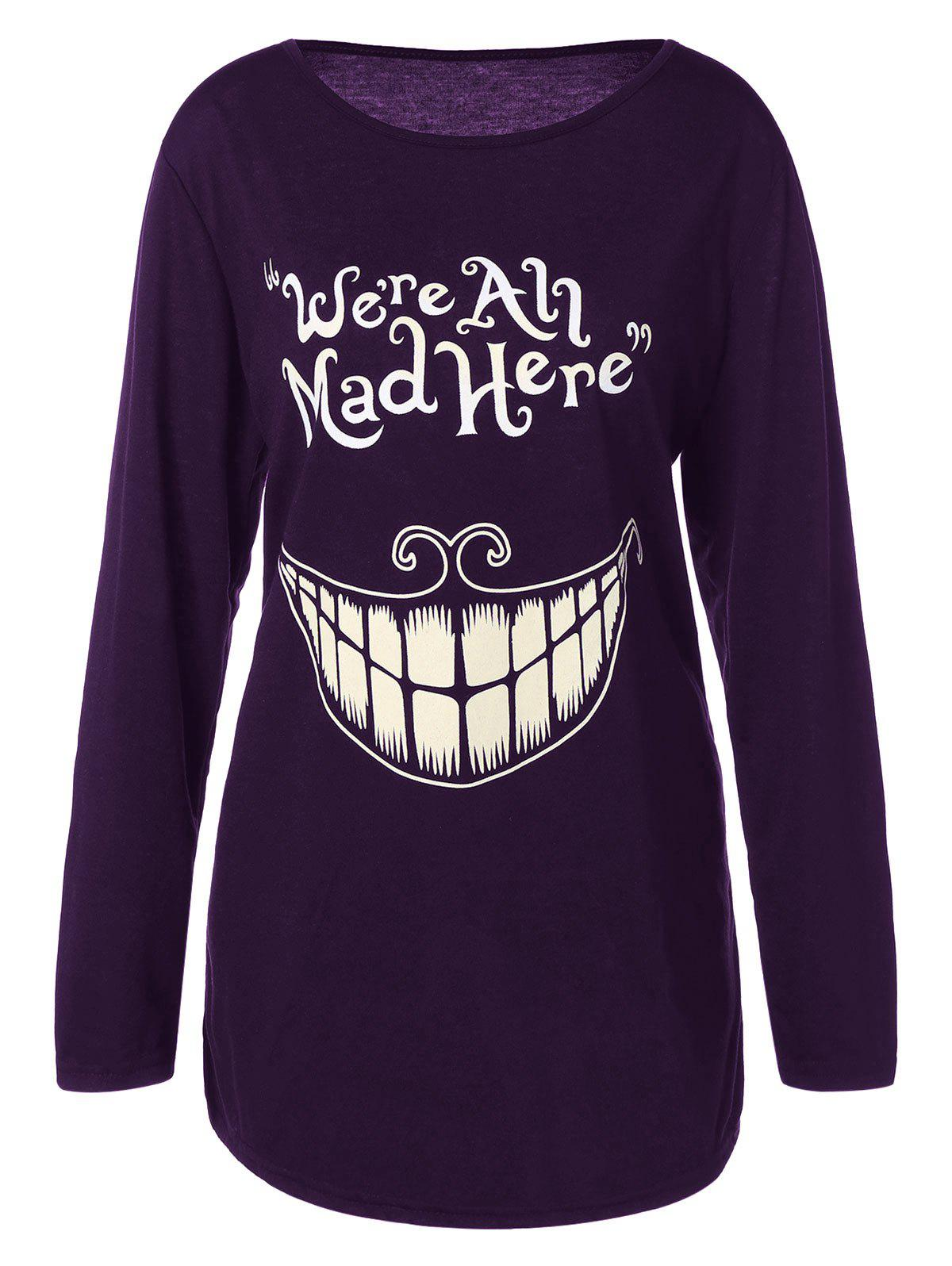 Plus Size Teeth and Letter Print T-shirtWOMEN<br><br>Size: XL; Color: PURPLE; Material: Polyester,Spandex; Shirt Length: Long; Sleeve Length: Full; Collar: Jewel Neck; Style: Casual; Season: Fall,Spring; Pattern Type: Letter; Weight: 0.2510kg; Package Contents: 1 x T-Shirt;