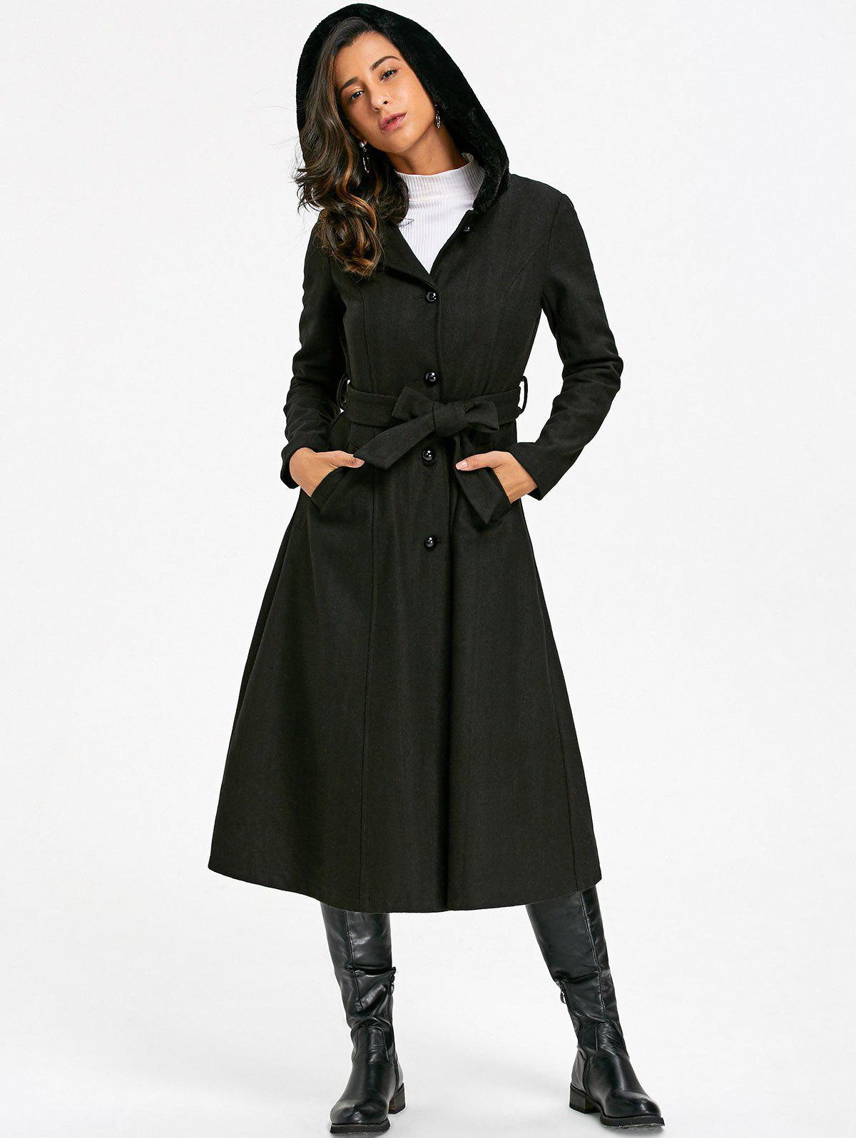Shops Longline Hooded Flare Coat with Tie Belt