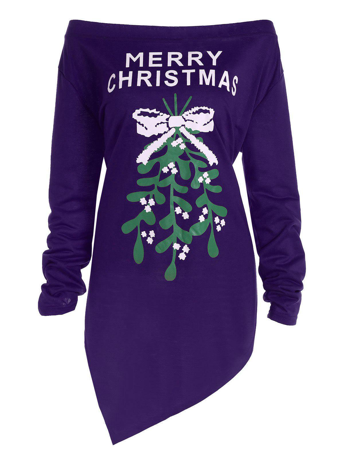 Plus Size Off The Shoulder Asymmetric Christmas T-ShirtWOMEN<br><br>Size: XL; Color: PURPLE; Material: Polyester; Shirt Length: Long; Sleeve Length: Full; Collar: Off The Shoulder; Style: Fashion; Season: Fall,Spring; Pattern Type: Print; Weight: 0.3700kg; Package Contents: 1 x Tee;