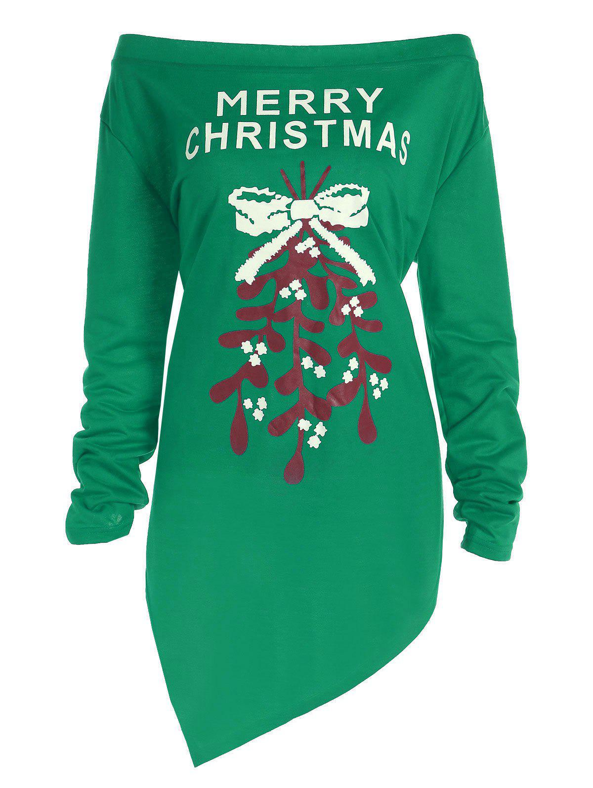Plus Size Off The Shoulder Asymmetric Christmas T-ShirtWOMEN<br><br>Size: XL; Color: GREEN; Material: Polyester; Shirt Length: Long; Sleeve Length: Full; Collar: Off The Shoulder; Style: Fashion; Season: Fall,Spring; Pattern Type: Print; Weight: 0.3700kg; Package Contents: 1 x Tee;