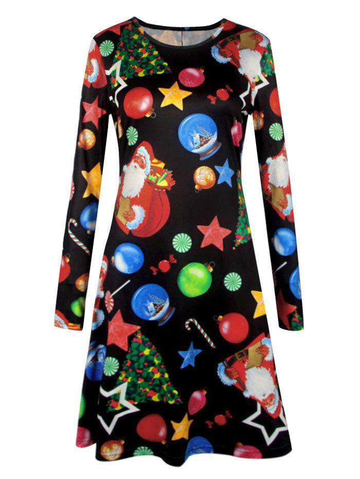 Plus Size Christmas Candy Tree Printed DressWOMEN<br><br>Size: 4XL; Color: BLACK; Style: Casual; Material: Polyester; Silhouette: A-Line; Dresses Length: Mini; Neckline: Round Collar; Sleeve Length: Long Sleeves; Pattern Type: Candy,Cartoon,Print; With Belt: No; Season: Fall,Winter; Weight: 0.2700kg; Package Contents: 1 x Dress;