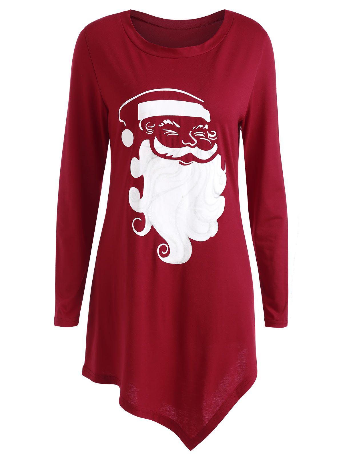 Christmas Santa Claus Asymmetrical TeeWOMEN<br><br>Size: M; Color: RED; Material: Cotton,Polyester; Shirt Length: Long; Sleeve Length: Full; Collar: Round Neck; Style: Casual; Pattern Type: Print; Season: Fall,Spring; Weight: 0.3500kg; Package Contents: 1 x T-shirt;