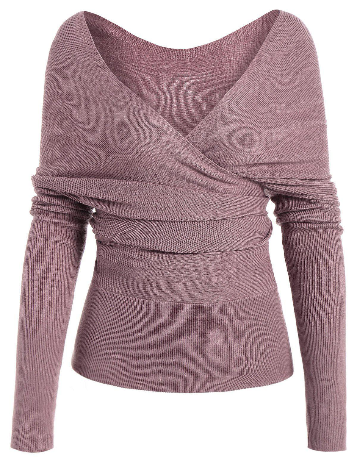Low Cut Surplice Knitted TopWOMEN<br><br>Size: S; Color: PINKISH PURPLE; Type: Pullovers; Material: Polyester; Sleeve Length: Full; Collar: Plunging Neck; Style: Casual; Weight: 0.3950kg; Package Contents: 1 x Knitwear;
