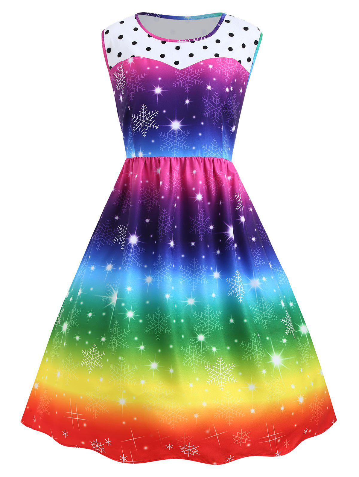 Plus Size Christmas Snowflake Rainbow Color Vintage DressWOMEN<br><br>Size: 4XL; Color: COLORFUL; Style: Cute; Material: Polyester; Silhouette: Ball Gown; Dresses Length: Mid-Calf; Neckline: Round Collar; Sleeve Length: Sleeveless; Waist: High Waisted; Embellishment: Spliced; Pattern Type: Polka Dot,Print; With Belt: No; Season: Fall,Winter; Weight: 0.3300kg; Package Contents: 1 x Dress;