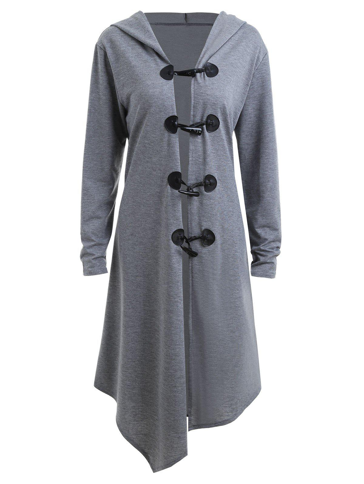 Hot Duffle Button Plus Size Long Asymmetric Hooded Coat