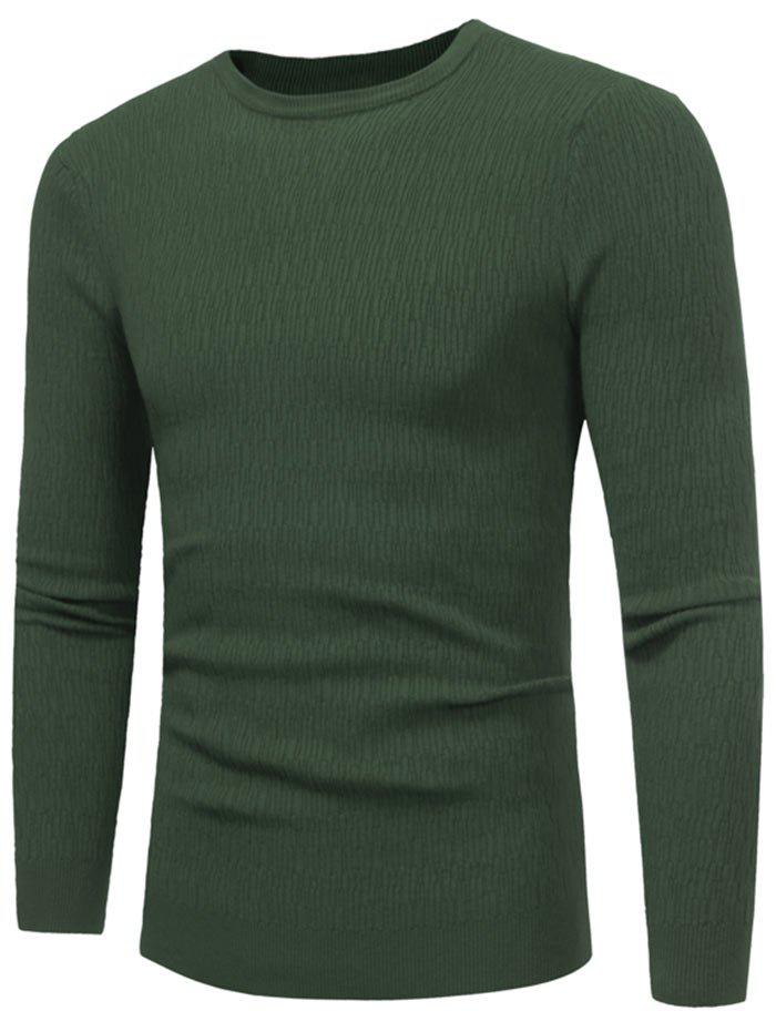 Latest High Stretchy Crew Neck Textured Sweater