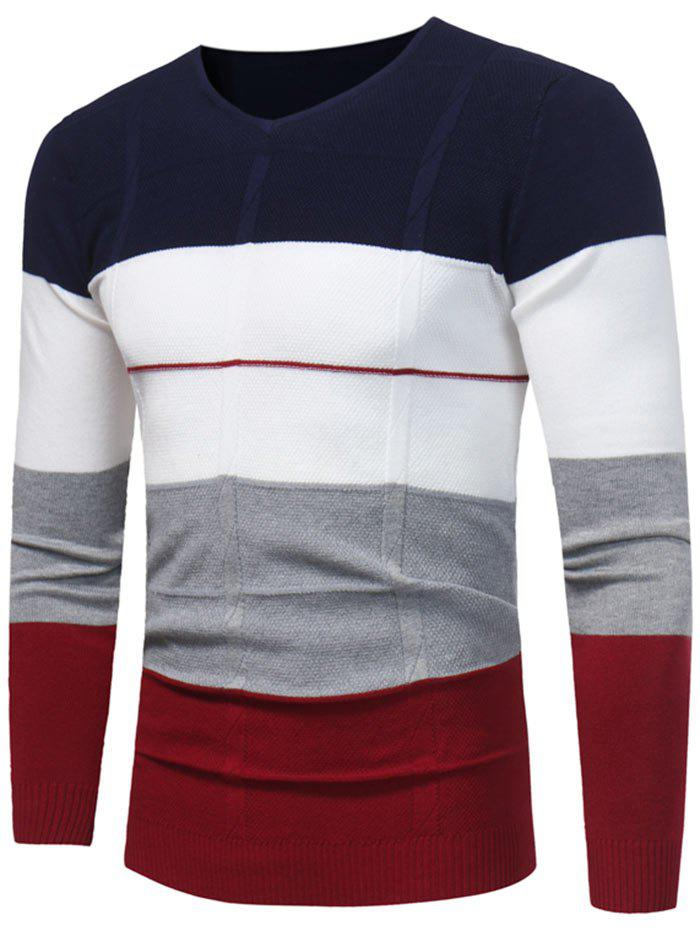 New Color Block V Neck Jumper