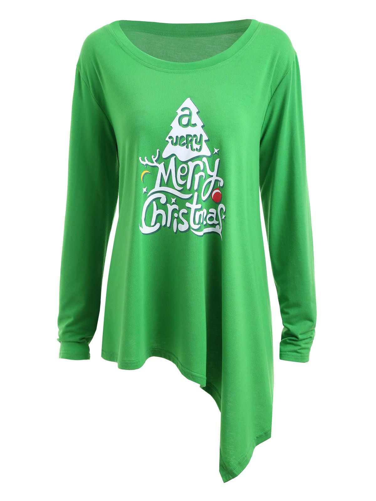 Plus Size Merry Christmas  Asymmetric Long Sleeve T-shirtWOMEN<br><br>Size: 3XL; Color: GREEN; Material: Cotton Blends,Polyester; Shirt Length: Long; Sleeve Length: Full; Collar: Scoop Neck; Style: Fashion; Season: Fall,Winter; Pattern Type: Letter; Weight: 0.3100kg; Package Contents: 1 x Tee;