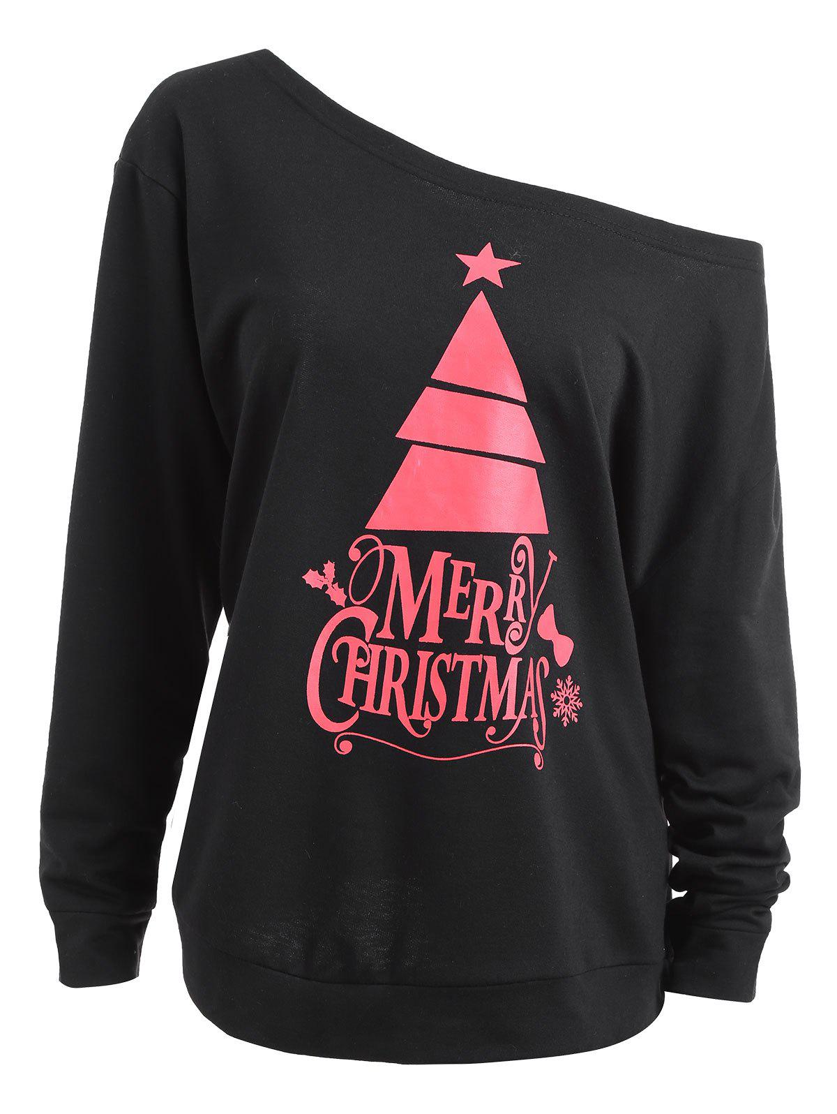 Plus Size Skew Neck Cute Christmas Tree SweatshirtWOMEN<br><br>Size: 4XL; Color: BLACK; Material: Cotton Blend,Polyester; Shirt Length: Regular; Sleeve Length: Full; Style: Fashion; Pattern Style: Letter; Season: Fall,Winter; Weight: 0.4100kg; Package Contents: 1 x Sweatshirt;