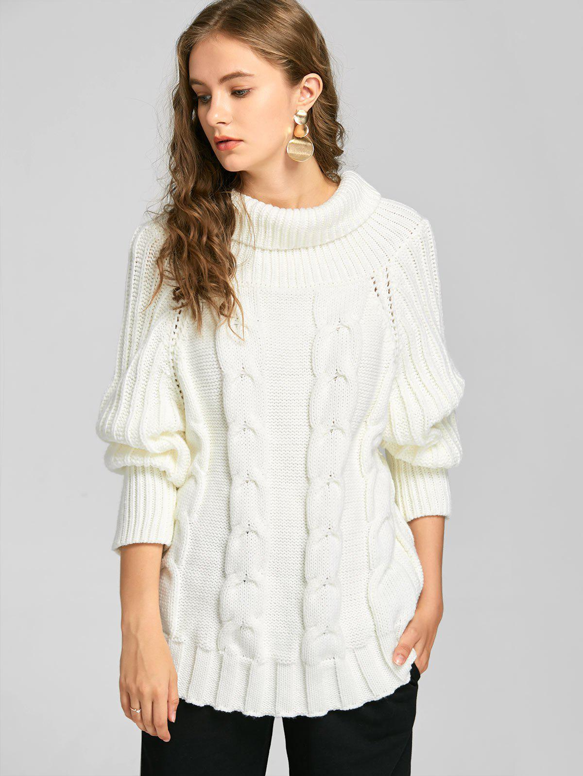 Turtleneck Cable Knit Chunky SweaterWOMEN<br><br>Size: ONE SIZE; Color: WHITE; Type: Pullovers; Material: Acrylic,Cotton,Polyester; Sleeve Length: Full; Collar: Turtleneck; Style: Fashion; Pattern Type: Solid; Weight: 0.7000kg; Package Contents: 1 x Sweater;
