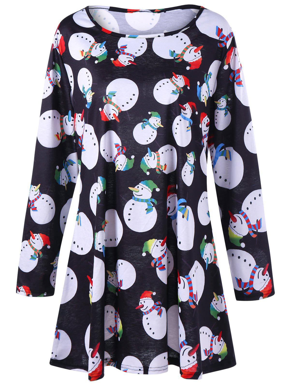 Plus Size Snowman Christmas Tee DressWOMEN<br><br>Size: XL; Color: BLACK; Style: Casual; Material: Polyester,Spandex; Silhouette: A-Line; Dresses Length: Mini; Neckline: Round Collar; Sleeve Length: Long Sleeves; Pattern Type: Others; With Belt: No; Season: Fall,Spring; Weight: 0.3000kg; Package Contents: 1 x Dress;