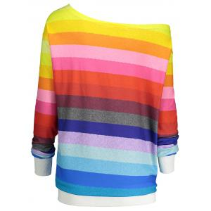 Rainbow Print Plus Size One Shoulder Sweatshirt -