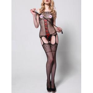 Lace-up Fishnet Garter Bodystockings -