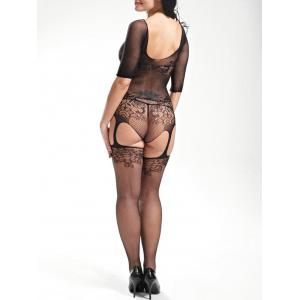 Fishnet Cut Out Scoop Neck Bodystockings -