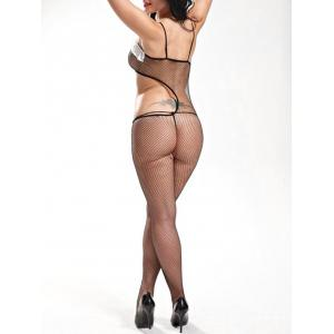 Slip Lace Trim Fishnet Bodystockings -
