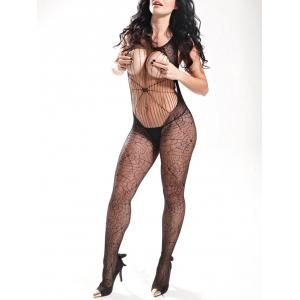 Spider Web Backless Fishnet Bodystockings - BLACK ONE SIZE