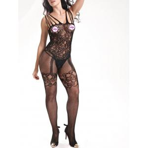 Sheer Fishnet Strappy Bodystockings - BLACK ONE SIZE