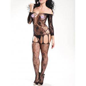 Off The Shoulder Fishnet Bodystockings - Noir TAILLE MOYENNE