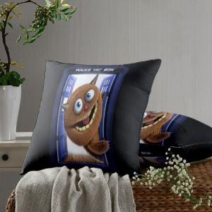 Monster Police Box Pattern Square Pillow Case - BLACK W24 INCH * L24 INCH