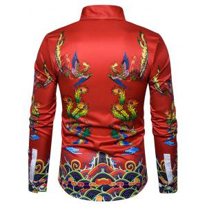 Chinoiserie Symmetrical Phoenix Print Shirt - Multicolore 2XL