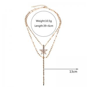 Faux Gem Star Layered Longline Necklace -