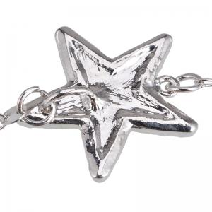 Faux Gem Star Layered Longline Necklace - Argent