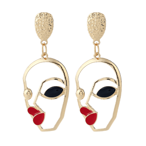 Hollow Face Aolly Stud Earrings - Or