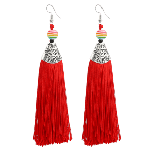 Bohemia Beaded Tassel Design Drop Earrings -