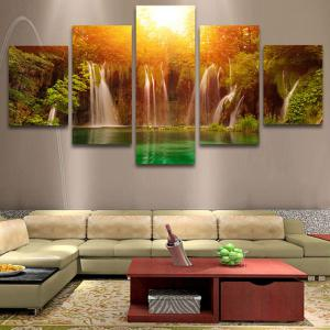 Sunset Waterfall Patterned Split Canvas Wall Art Painting -