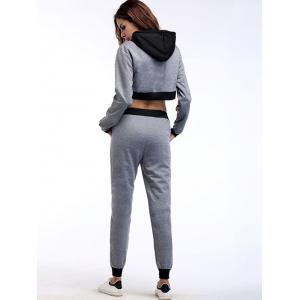 Crop Hoodie and Jogger Sport Pants - GRAY M