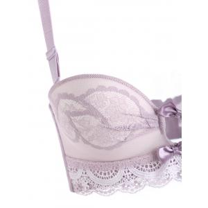 Push Up Sheer Lace Bra Set - LIGHT PURPLE 85A
