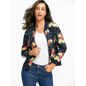 Zipper Fly Floral Bomber Jacket - Azuré S
