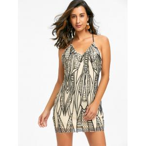 Night Out Backless Sequins Robe Cami - Noir XL