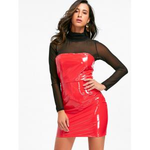 Bandeau Latex Bodycon Dress - RED S