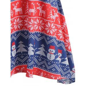 Snowflake Snowman Print Mini Swing Christmas Dress -