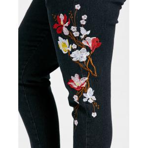 Plus Size Floral Embroidery Jeans -