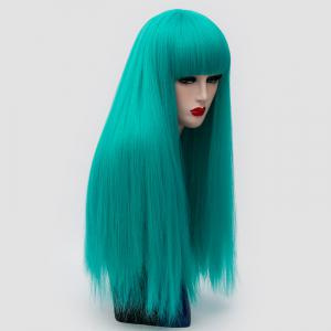 Long Full Bang Fluffy Straight Lolita Cosplay Synthetic Wig - GREEN
