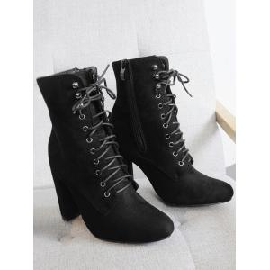 Lace Up Block Heel Ankle Boots -