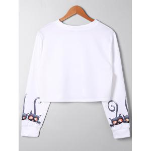 Sweat-shirt Court Imprimé Chat Cartoon Grande Taille -