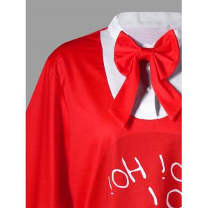 Christmas Plus Size Bow Tie Serrated Top -