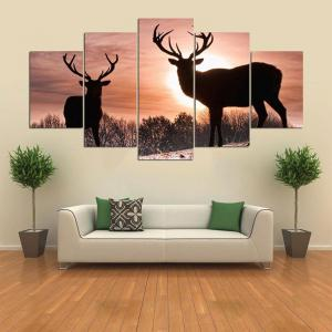 Wall Art Sunset Elks Pattern Split Canvas Paintings -