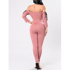 Off The Shoulder Lace Up Jumpsuit - PINK S