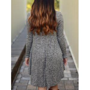 V Neck Marled Knit Casual Dress - GRAY L