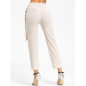 Tie Up High Wasited Pants - BEIGE L