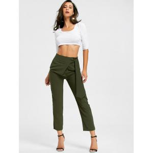 Tie Up High Wasited Pants - ARMY GREEN M