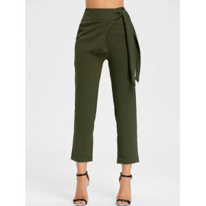 Tie Up High Wasited Pants - ARMY GREEN L