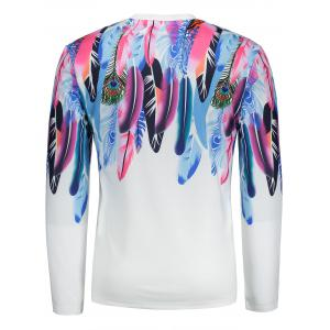 Long Sleeves Colorful Feathers Pattern T-shirt -