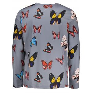 Long Sleeves Colorful Butterflies Pattern T-shirt -